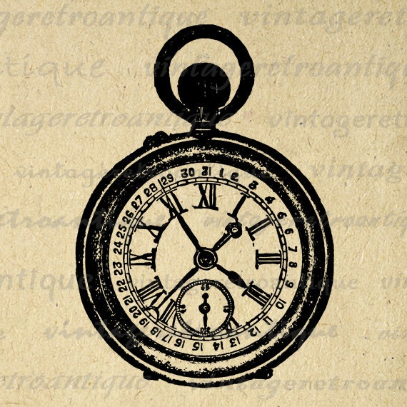 Printable Antique Pocket Watch Graphic by VintageRetroAntique