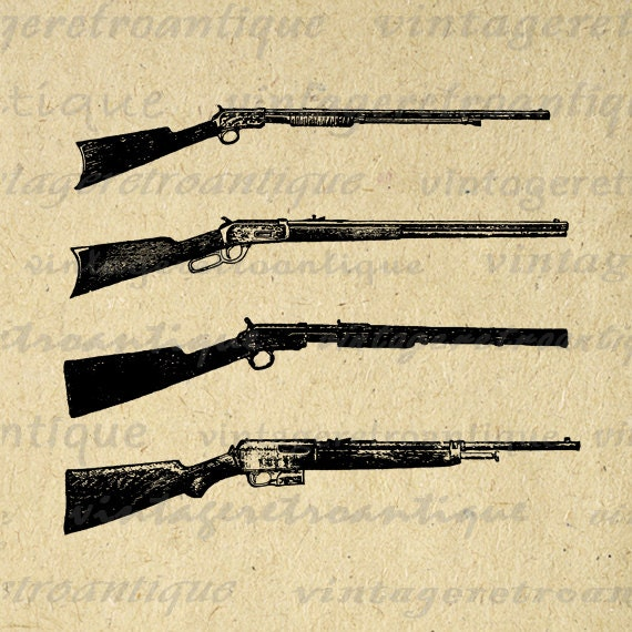 Digital Printable Antique Rifles Graphic by ...
