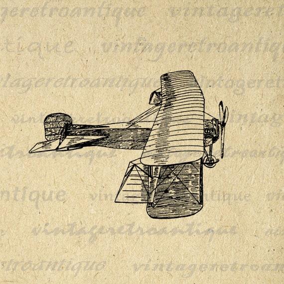 Printable Airplane Art Digital Vintage Biplane Plane Graphic Art ...