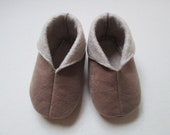 Light Brown Ultra Suede/Felt Lined Booties/Slippers - 9 to 12 months