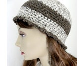 Tan  and brown Tweed Cloche Beanie  Hat coeds women girls fall autumn fashion winter accessories handmade crochet  by Sandra Russell