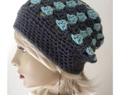 Turquoise & Gray  Bohemian Chic Hand Crocheted Slouchy Beanie women teens fall autumn winter fashion accessories