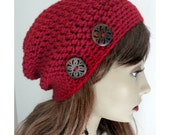 Ruby Red Slouchy Beanie hat wooden buttonsBoho Chic Hand Crocheted womens fall autumn winter fashion accessories