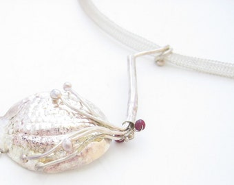 Taste bud shaped - Beaten Fine Silver pendant set with Ruby Gemstones , netting necklace OOAK
