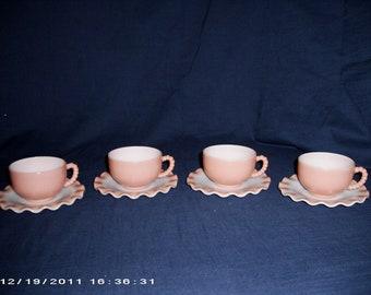 Set of 4 Vintage Hazel-Atlas Ripple Pink Crinoline Cups & Saucers