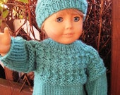 American Girl Hand Knit Doll Sweater and Pompom Cap, Soft Aqua. Textured