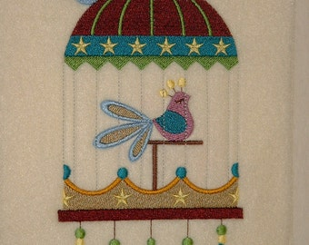 SALE Embroidered Bird Scarf
