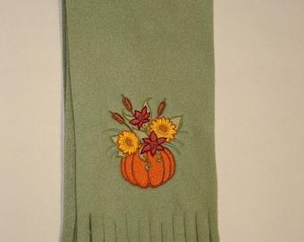 SALE Embroidered Pumpkin Scarf