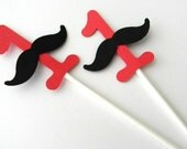 12 Mustache Number Cupcake Toppers