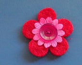 three colours red felt pin - badge