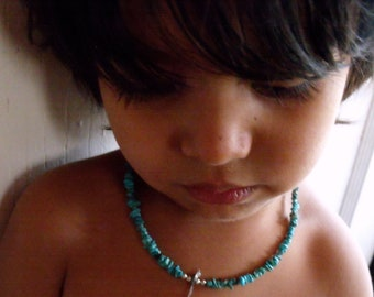 Child's necklace, turquoise necklace with silver dove, boy necklace, girl necklace, baby necklace, baby turquoise jewelry, kids jewelry,dove