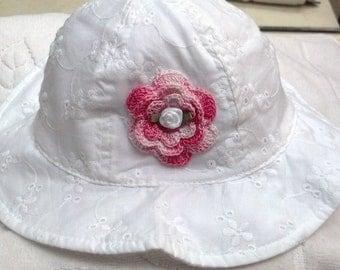 Girls Baby Infant Toddler White Eyelet Hat Sunhat - Handmade Irish Rose MANY COLORs - Sizes 6-18 months and  2T-4T