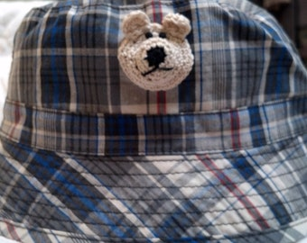Boys Baby Infant Toddler Fishing Bucket Hat - Handmade Teddybear Face -  Blue Plaid - Sizes 18-24 months, 3T-4T