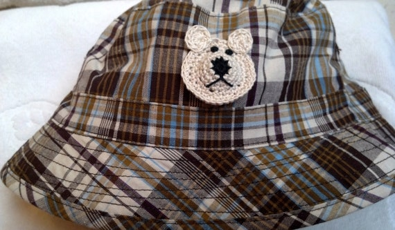 Boys Baby Infant Toddler Fishing Bucket Hat - Handmade Teddybear Face -  Brown Plaid - Sizes 18-24 months, 3T-4T