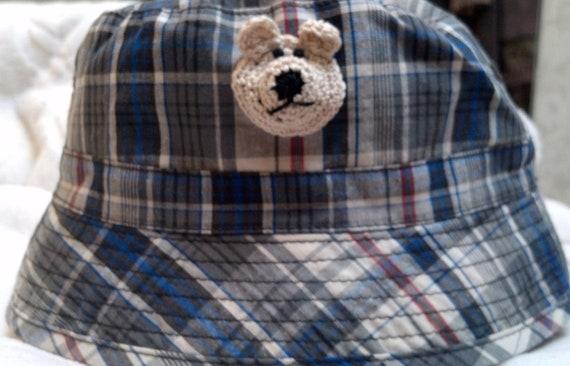 Boys Baby Infant Toddler Fishing Bucket Hat - Handmade Teddybear Face -  Blue Plaid - Sizes 18-24 months, 3T-4T
