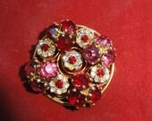 Vintage Rhinestone Brooch Pin Ruby Red Pink Unique With Springs