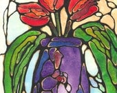 "Lovely Three Red TULIPS in Purple Vase Stained Glass Style Abstract ART Watercolor Wall Decor 10""x8"" PRINT of original by K.McCants"