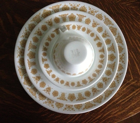 RESERVED for Jennifer Set of Four Butterfly Gold plates, cups, salad plates, saucers, Corelle, Corningware, Pyrex, Corning ware, 16 pieces