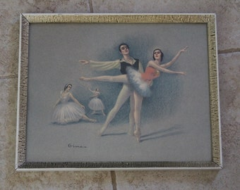 Vintage Ballet Print by Gina - pastels on paper print in vintage frame