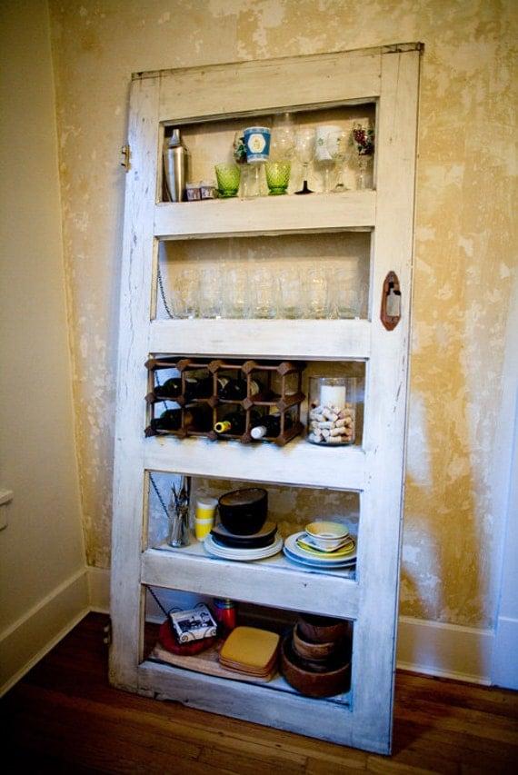 Vintage Door Repurposed Bookshelf Kitchy By