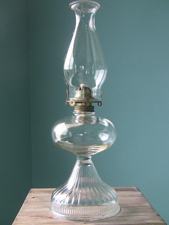 Large Vintage Oil Lamp Hurricane Lamp Antique Glass Lamp