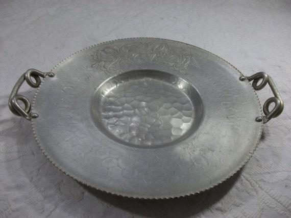 Vintage Hand Forged Aluminum Serving Platter