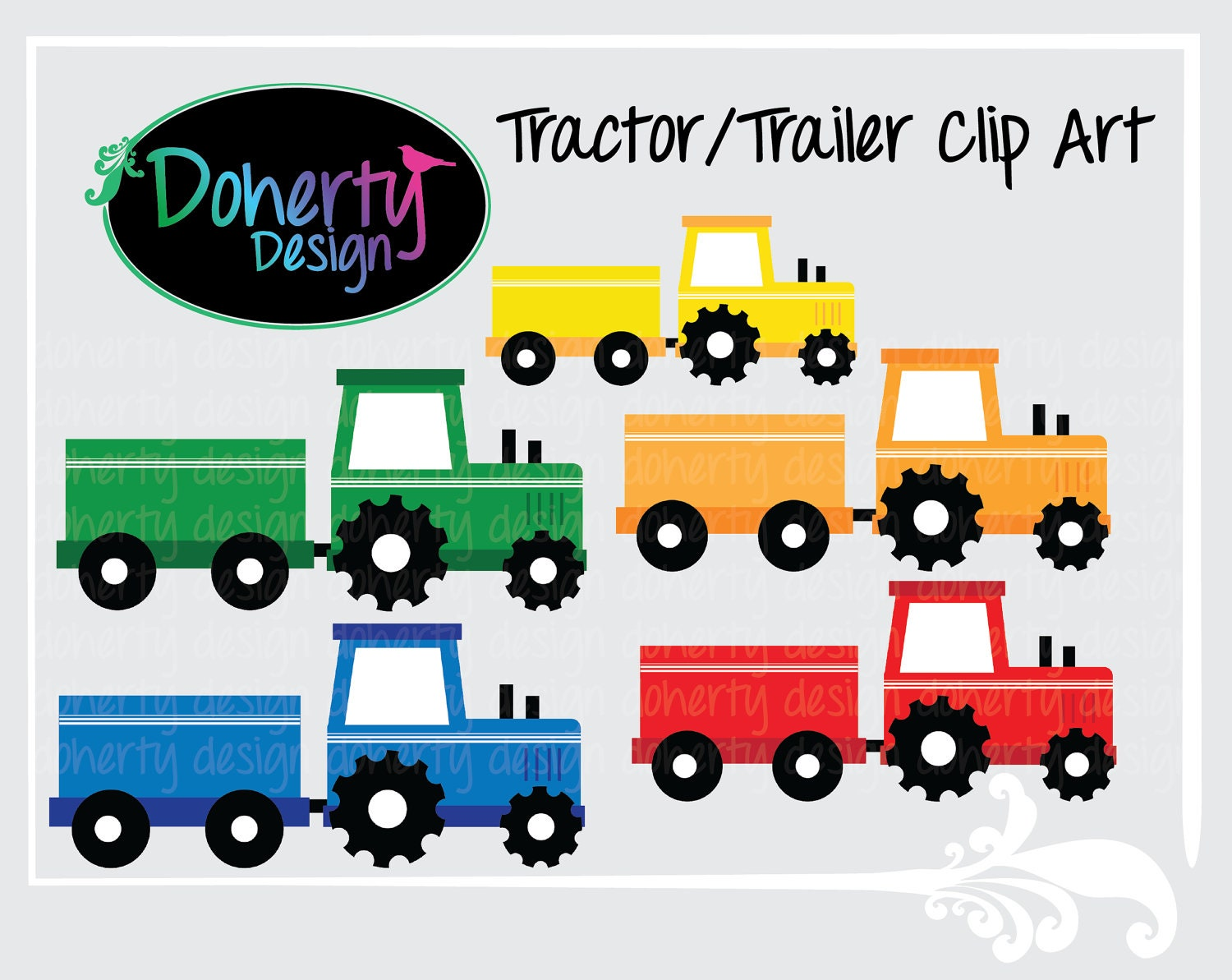 Tractor Trailer Clip Art : Unavailable listing on etsy