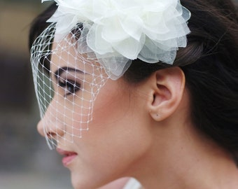 Bridal Head Piece, Bridal, Bridal Accessories, Bridal flower birdcage veil, Silk hairpiece, Russian veil