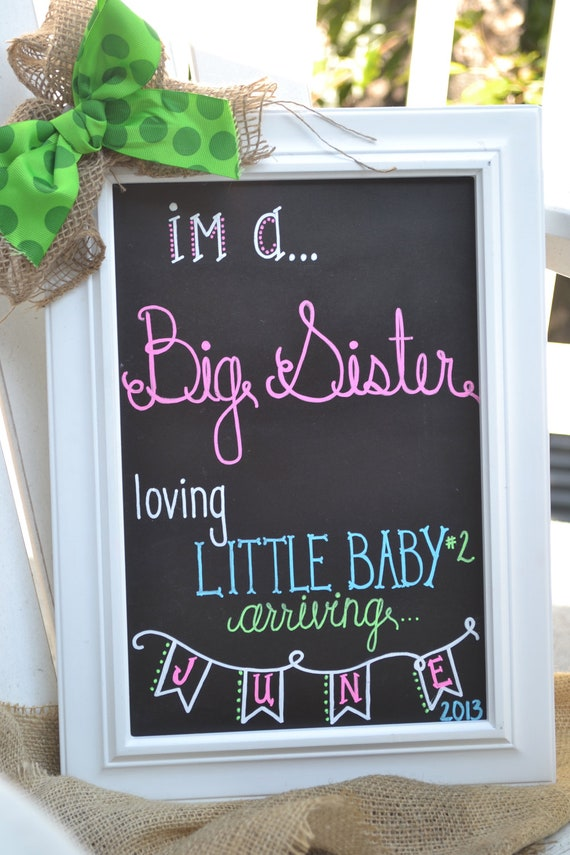 items similar to baby number two announcement chalkboard