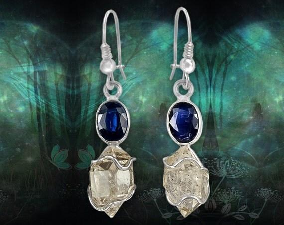 Intense Blue Kyanite Silver Earrings and Herkimer Diamond Crystals
