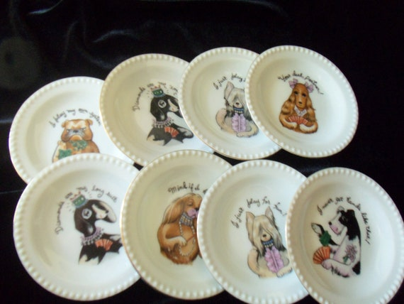 Plates or Dishes for Dog Lovers Nut or Candy Lady Card Playing Dogs Ardalt 6197 Japan