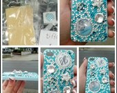 Tiffany and Co iphone 4, 4s  blinged case with screen protector and matching home button sticker