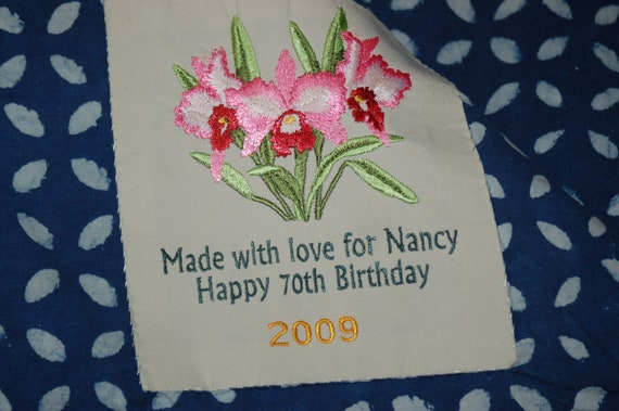 Custom Embroidered Quilt Label- a final finishing touch on your hand made quilt