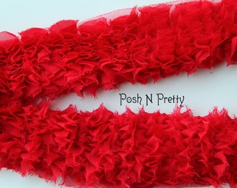 "3.5"" Grass Trim CHIFFON By the Yard - RED"