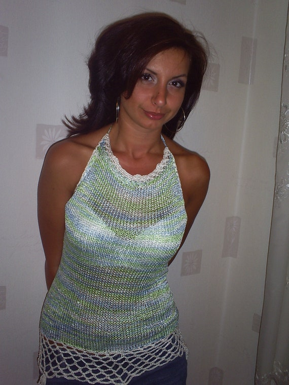 Tunic for summer days, hand knitting top silk ,  crochet  top ,summer blouse, knitted top girl , women top