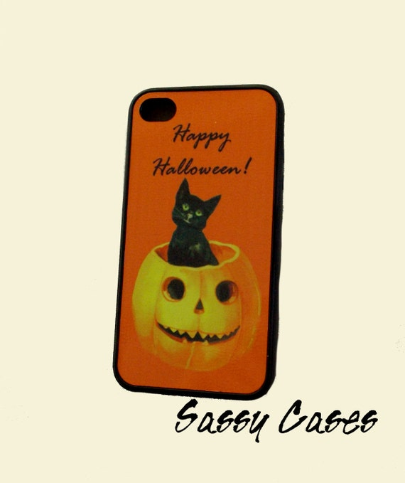 Holiday Edition iPhone 4 / 4S Cell Phone Case Holiday Happy Halloween Black Rubber Case Vintage Black Cat Pumpkin Greeting