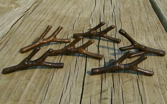 Twig Drawer Pulls Brown Metal Set Of 6