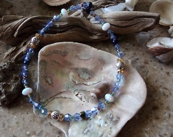 Synthetic Opal Beaded Anklet
