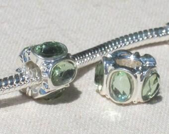 Light Green Crystal Oval European Style Charm Spacer Bead, Big Hole Bead