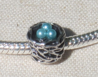 Robin's Nest with Blue Eggs European Style  Charm Bead  - Big Hole Bead