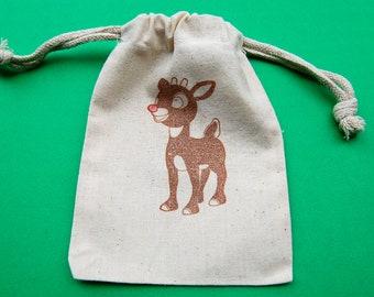 Rudolph Favor Bag / Set of 10 / Muslin Favor Bag