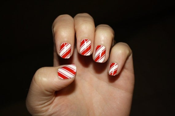 Items similar to candy cane vinyl nail decals on etsy