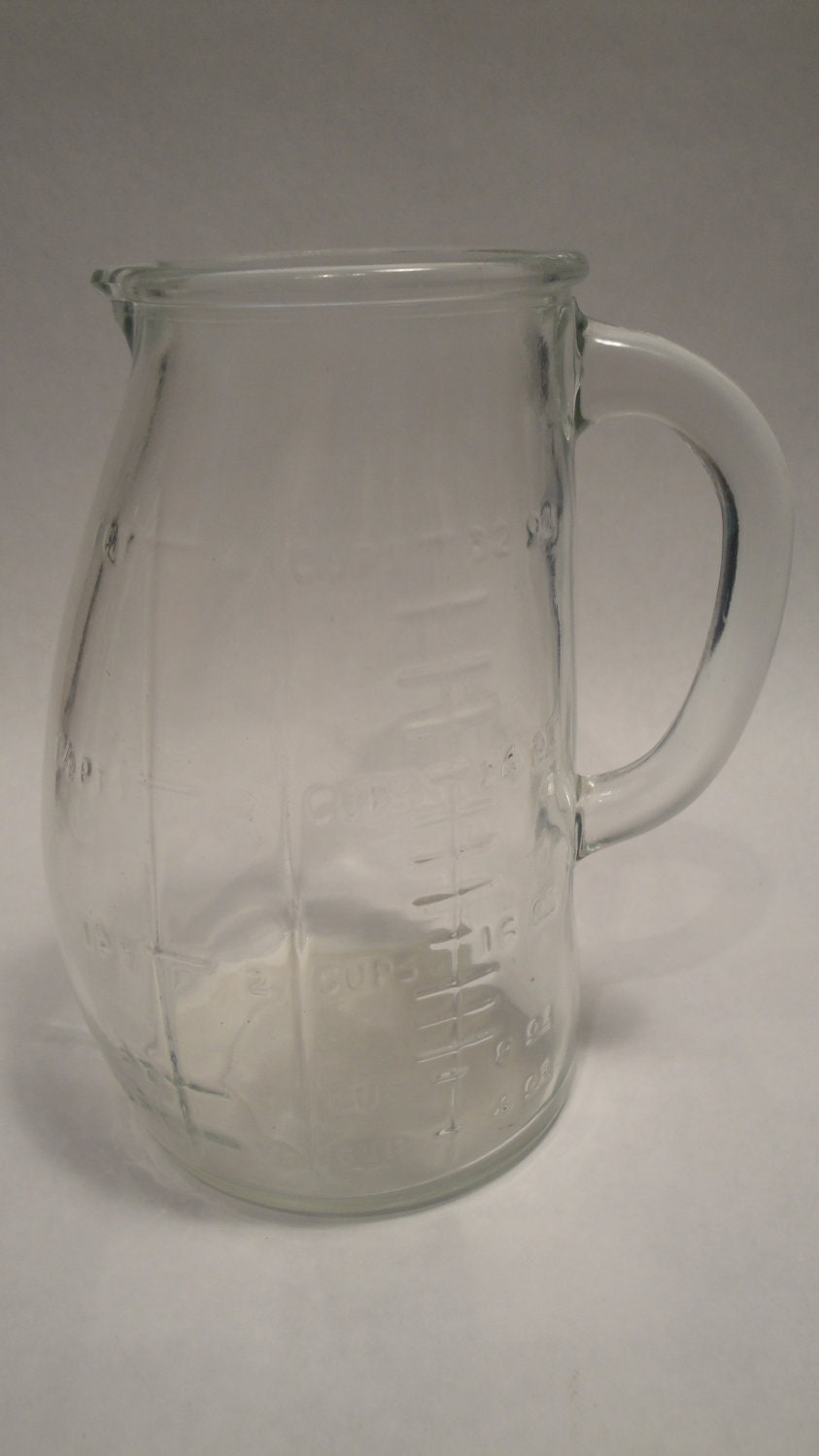 Quart Pitcher Large Glass Measuring Cup Curved Leaning
