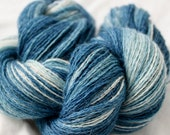 """Alpaca Silk Lace weight knitting / crochet yarn, hand-dyed with natural Indigo, Colorway """"There and Back Again"""" white, blue"""