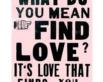pink letterpress poster