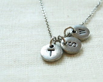 Three initial hand stamped charms, initial necklace, initial hand stamped, personalized, antique silver, monogram