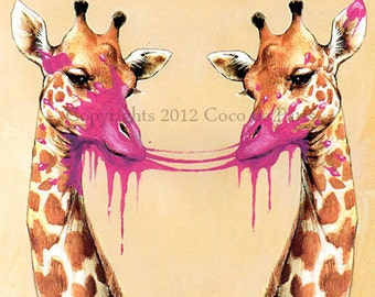Print Illustration Art Poster Acrylic Painting Kids Decor Drawing Gift : Burst Chewing Gum Double Giraffes