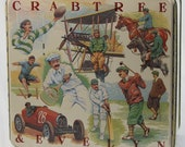 Crabtree & Evelyn Large Tin 1987 Depicting Many Vintage Sports • Aviation Automobile Horse Racing