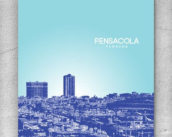 Pensacola Florida City Skyline / Home Wall Art / Housewarming Gift / Office Decor Wall Art / Any City or Landmark