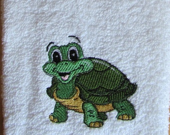 Embroidered Hand Towel With Turtle